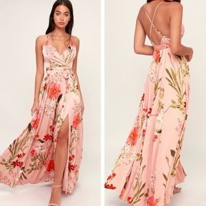 Lulu's Still The One Blush Satin Maxi Dress